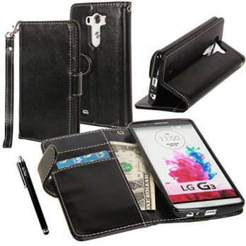 [holiczone] LG G3 Case, LG G3 Flip Case - E LV LG G3 Deluxe PU Leather Folio Wallet Full B/100950