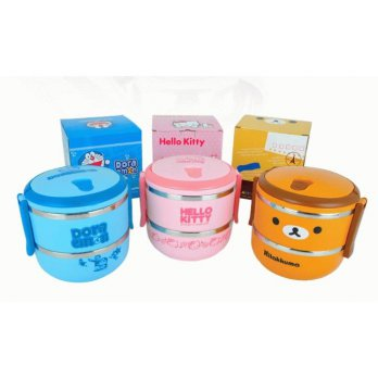 RANTANG 2 SUSUN STAINLESS LUNCH BOX HELLO KITTY DORAEMON RILAKUMA TEMPAT KOTAK MAKAN