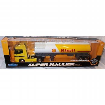 WELLY Truck Mercedes-Benz Actros SHELL TANKER (Yellow White) 1:32