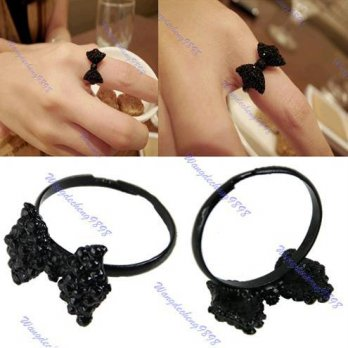 Cincin Pita Black Crystal Rhinestone Adjustable Size