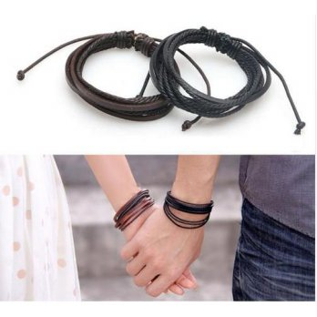 Gelang Kulit Wrap Multilayer Faux Leather