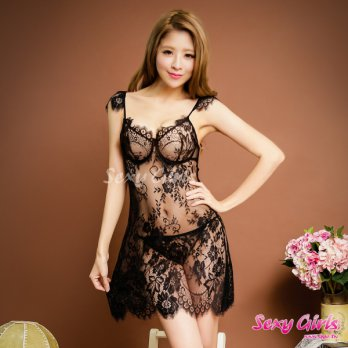 Sexy Girls Fun Pajamas Sexy Perspective Deep V Halter Two-piece Pajamas (CF-16001048-B)