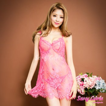 Sexy Girls Fun Pajamas Sexy Perspective Deep V Halter Two-piece Pajamas (CF-16001048-R)