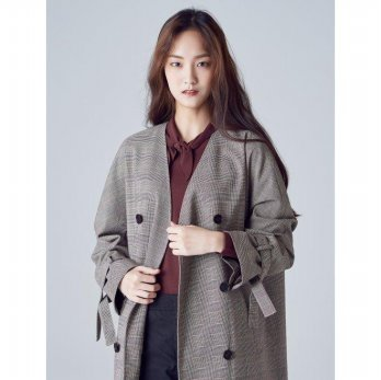 8seconds Glen Check No-collar Long Trench Coat - Brick