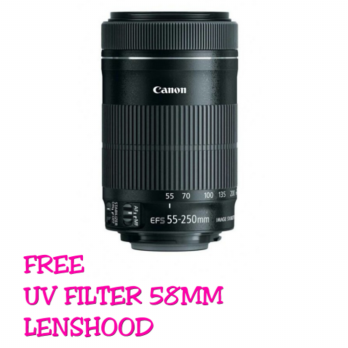 LENSA CANON EF-S 55-250MM F/4-5.6 IS STM (BONUS:LENSHOOD+UV FILTER)