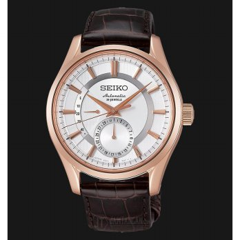 Seiko Presage SARW004J1 White Dial Brown Leather Strap Watch (JDM)