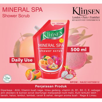 KLINSEN SHOWER SCRUB - MINERAL SPA 500ml - Sabun Mandi Cair