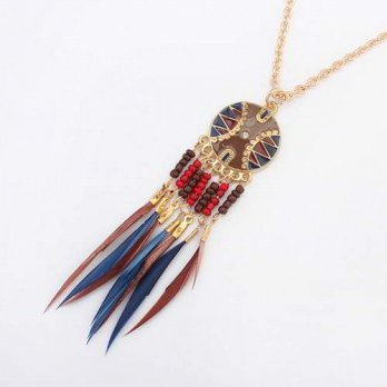 Kalung Fashion Etsy Bohemian Feather Round - Multicolor