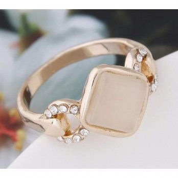 Square Gemstone Ring - Gold