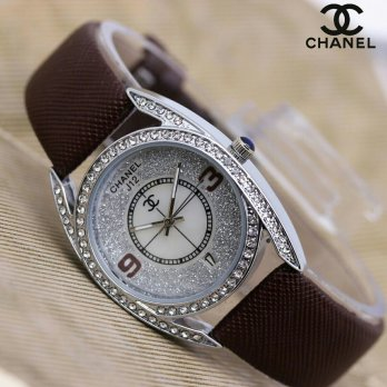 jam fashion wanita chanel COKLAT/RS grosir jam kado aigner diamond qs + GRATIS BOX