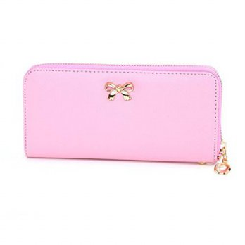 [macyskorea] Augur Womens Lady Leather Zipper With Bow Purse Credit Card Holder Long Zippe/12634070