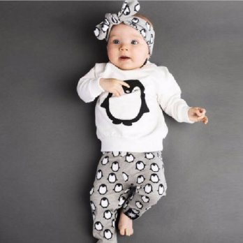 Kid Baby Girls Boy Children Clothing Penguin Long Sleeve Shirt+Pant Outfit