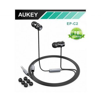 [ORIGINAL] AUKEY EP-C2 SUPER BASS STEREO EARPHONE WITH METAL BODY