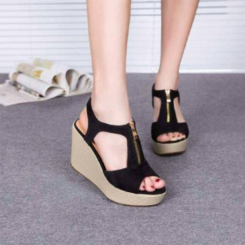 Sandal Wedges Wanita Sleting SDW73 (Aneka Sandal Flat Shoes Heels Wedges)