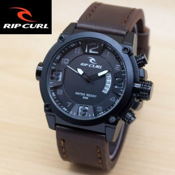 JAM TANGAN PRIA RIPCURL KULIT SABIT DARK BROWN