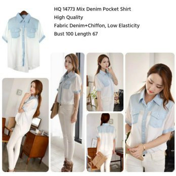 Mix Denim Pocket Shirt -14773