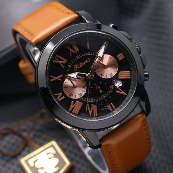 JAM TANGAN PRIA TETONIS KULIT CHRONO ACTIVE ORI AIR ANTI AIR BROWN