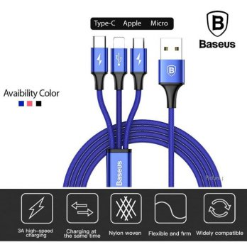 Baseus Rapid Series 3 in 1 Micro USB +Lightning+Type-C