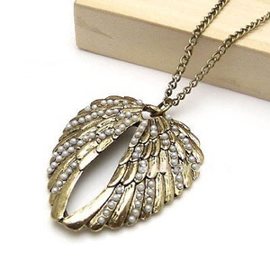Kalung Sayap Wings Mutiara Panjang Import Fashion Korea SJ0045