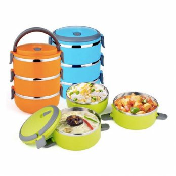 StarHome Rantang 3 Susun - Kotak Makan Stainless Steel - Lunch Box 2100 ml Aneka Warna