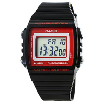 [CASIO Casio electronic watch alarm - black and red / W-215H-1A2 (original company goods)