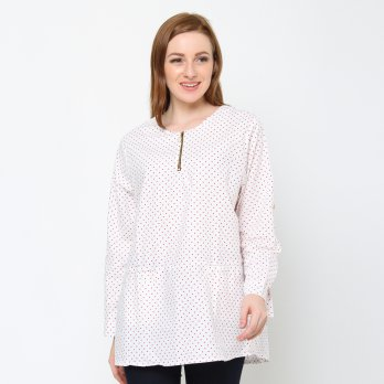 Jfashion Blouse Wanita Ukuran BIG SIZE corak Dotted  variasi Seleting - Dotty