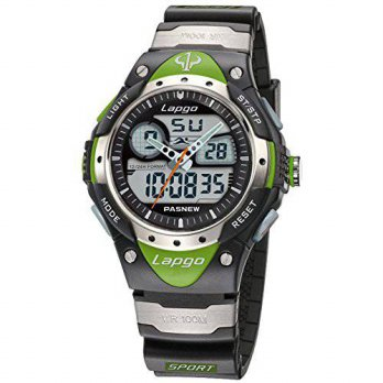 [holiczone] PASNEW PAS Waterproof Sports Dual Time Casual Boys Wrist Watches (Green)/120788