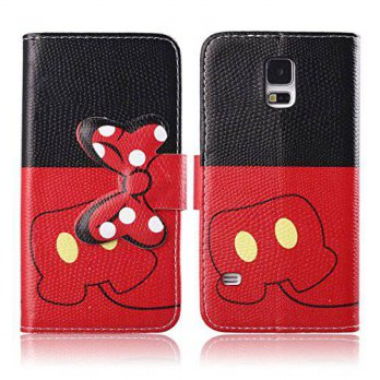 [holiczone] DeLeLe Galaxy S5 Case,DELELE MOUSE Monster Bowknot Premium PU Leather Stand Wa/120922