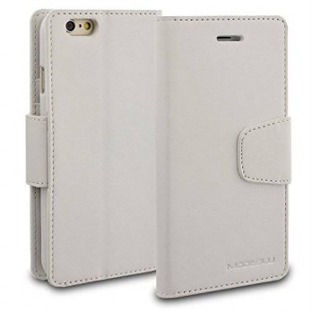 [holiczone] iPhone 6s Case, ModeBlu [Classic Diary Series] [White] Wallet Case ID Credit C/129962
