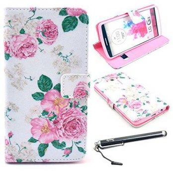 [holiczone] UrSpeedtekLive LG G3 Case, Speedtek Rose Pattern Premium PU Leather Wallet Fli/139172
