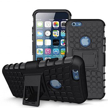 [holiczone] Tech Express (Tm) 6+ Black Heavy Duty Armor Rugged Grip 2 Layer Hybrid Silicon/142712