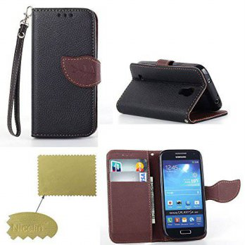 [holiczone] Samsung S4 mini Case, Nicelin(TM) Leaf Pattern PU Leather Stand Case for Samsu/143198