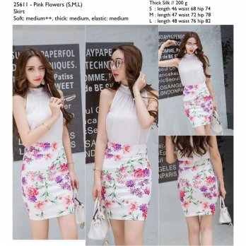 Pink Flowers (S,M,L) Skirt -25611