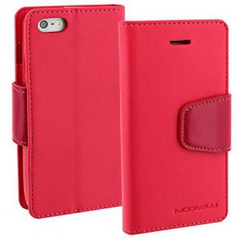 [holiczone] iPhone SE Case, ModeBlu [Classic Diary Series] [Hot Pink] Wallet Case ID Credi/171107