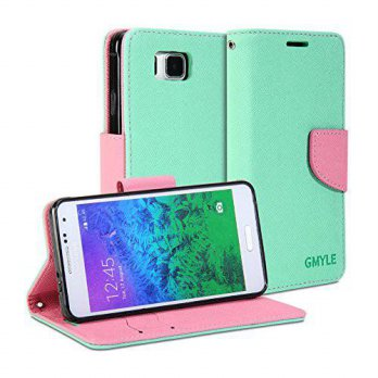 [holiczone] Galaxy Alpha Case, GMYLE Wallet Case Classic for Galaxy Alpha SM-G850F - Mint /175387