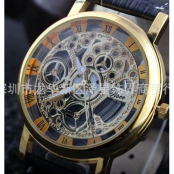 Jam Tangan Skeleton Transparan Tembus Pandang Kulit Analog Watch COWO