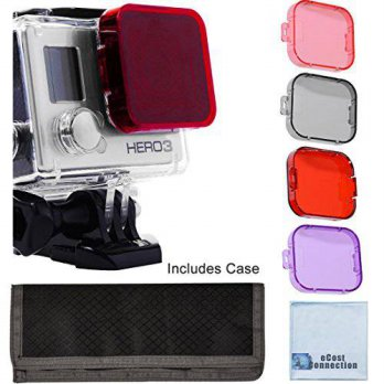 [holiczone] ECost 4pc Filter Kit For GoPro Hero 3 Large Dive case. Filters come w/ Soft Ca/181705