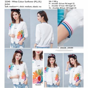 White Colour Sunflower (M,L,XL) Jacket -25340