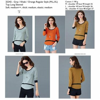 Orange,Khaki,Gray Regular Style (M,L,XL) Top Long Sleeved -25342