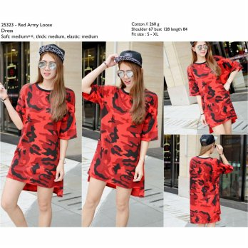 Red Army Loose Dress -25323