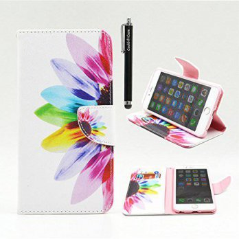 [holiczone] Coolgiftcase Iphone 6 Case, Iphone 6S Wallet CASE - Colorful Sunflower Pattern/185082