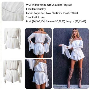 White Off Shoulder Playsuit (size S,M,L)-14848