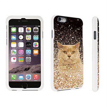 [holiczone] DuroCase Apple iPhone 6 - 4.7 inch Hard Case White - (Gold Glitter Cat)/194674