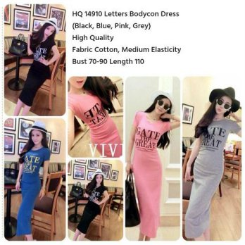 Letters Bodycon Dress (BLACK,PINK,GRAY,BLUE)-14910