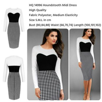 Houndstooth Midi Dress (size S,ML)-14996