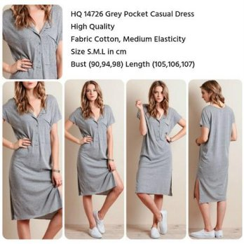 Grey Pocket Casual Dress (size S,M,L)-14726