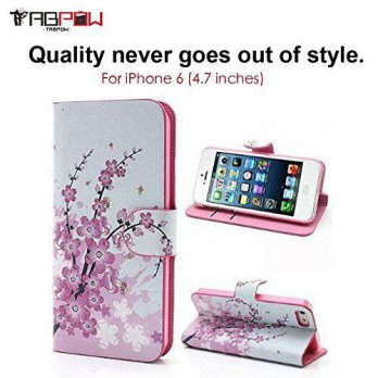 [holiczone] iPhone 6 Case, iPhone 6s Case, TabPow Classic Cherry Blossom Flip Wallet PU Le/214593