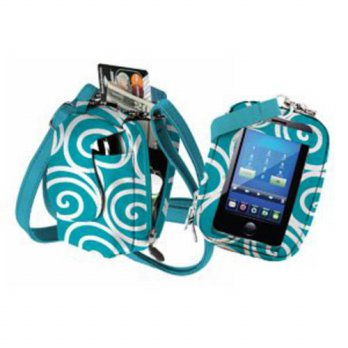 [holiczone] Charm14 Charm 14 Teal swirl touchscreen purse plus/217434