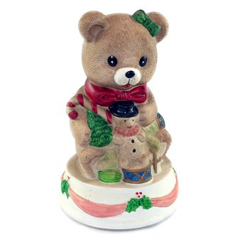 OHOME Patung Porcelain EK-P-9336-B Christmas Bear + Music Pajangan Rumah Home Decor