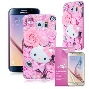 [holiczone] Bling Galaxy S6 3D Case, EpicGadget(TM) Pink Miss Kitty Fairy Tale Handmade Fl/239815